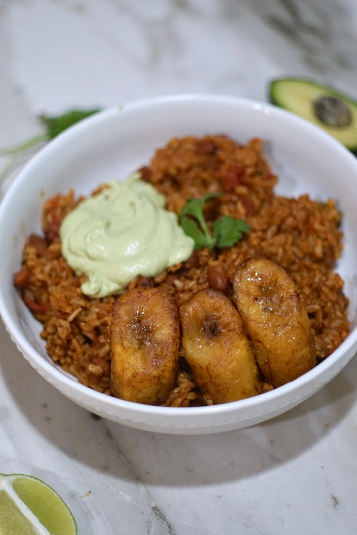 Spanish Rice + Beans with Sweet Plantains and Cilantro-Lime Cashew Crema